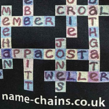 Image of Chelsea FC name-chains black t-shirt - close up of bottom right showing name-chains logo