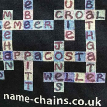 Image of Chelsea FC name-chains navy t-shirt - close up of bottom right showing name-chains logo