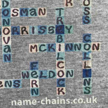 Image of Everton FC name-chains grey t-shirt - close up of bottom right showing name-chains logo