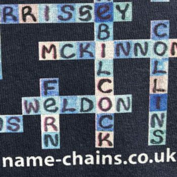Image of Everton FC name-chains navy t-shirt - close up of bottom right showing name-chains logo