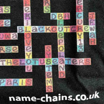 Image of Liverpool Bands name-chains black t-shirt - close upon bottom right showing name-chains logo