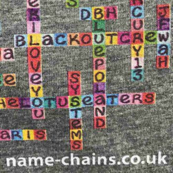 Image of Liverpool Bands name-chains grey t-shirt - close up of bottom right showing name-chains logo