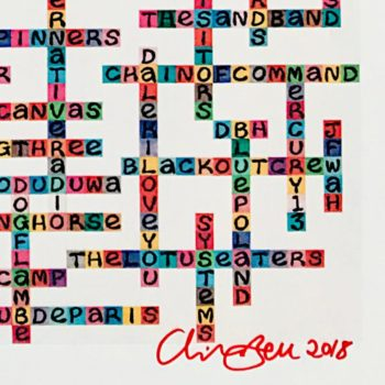 Image of Liverpool Bands name-chains design limited edition print - close up of bottom right showing artist's signature