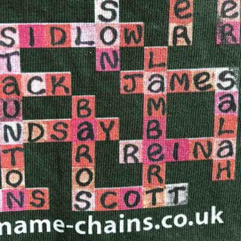 Image of Liverpool FC name-chains bottle green -shirt - close up of bottom right showing name-chains logo