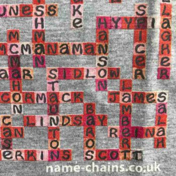 Image of Liverpool FC name-chains grey t-shirt - close up of bottom right showing name-chains logo