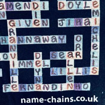 Image of Manchester City name-chains navy t-shirt - close up of bottom right showing name-chais logo