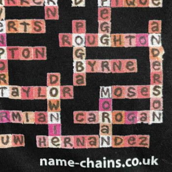 Image of Manchester United name-chains black t-shirt - close up of bottom right showing name-chains logo
