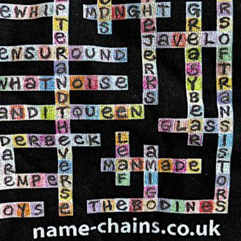 Image of Manchester Bands name-chains black t-shirt - close up of bottom right showing name-chains logo