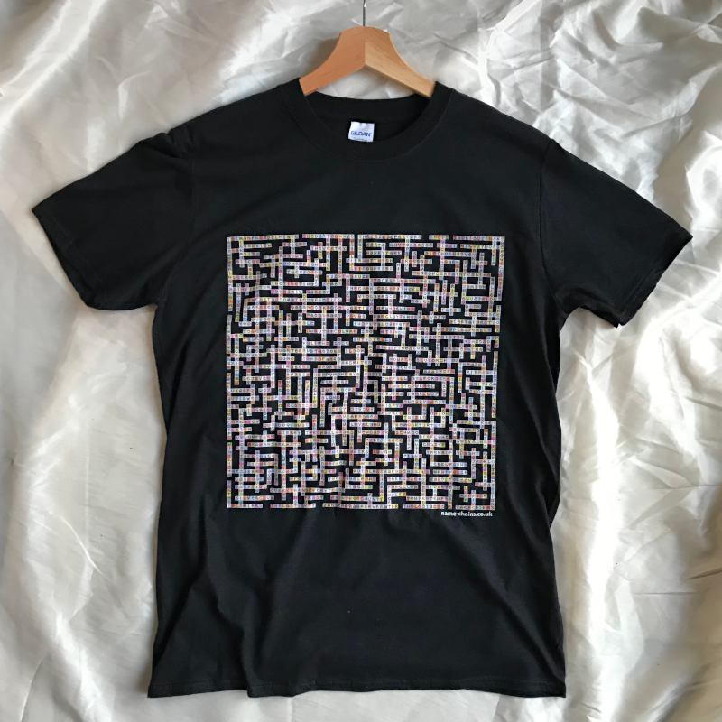 Image of Manchester Bands name-chains black t-shirt