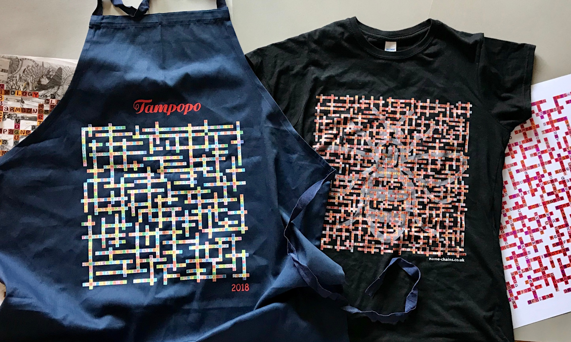 image of name-chains commissions includin tampopo apron and forever manchester venues t-shirt design