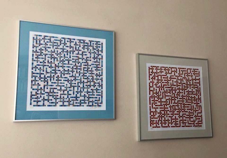 photo of manchster city and manchester united name-chains designs framed & mounted on a wall