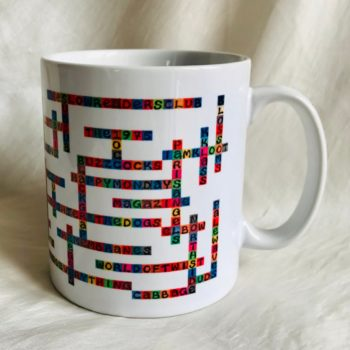 image of manchester bands name-chains mug showing handle to the right