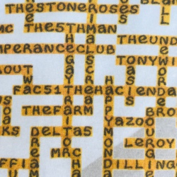 image of fac 51 the hacienda name-chains white t-shirt close up middle showing names