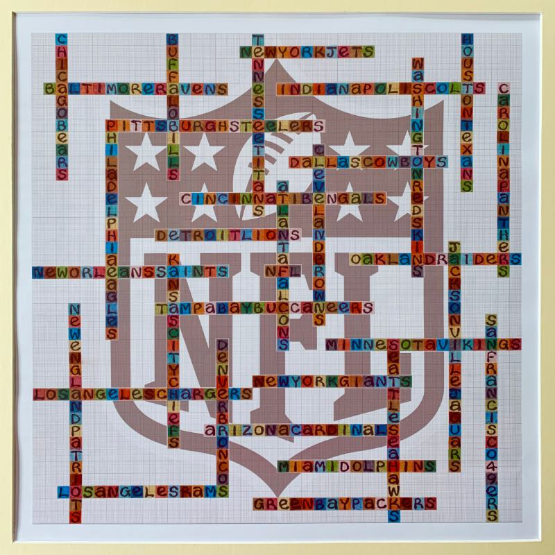 image of NFL limited edition name-chains print showing names of all 32 teams