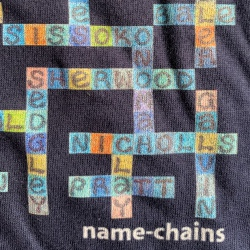 image of navy tottenham hotspur name-chains t-shirt showing close up of bottom right of the t-shirt showing logo